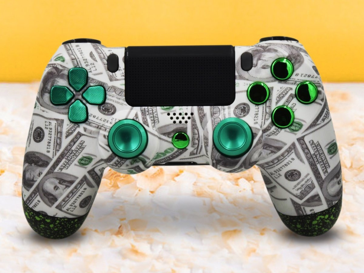 PS4 Benjamins Controller With Green Accents
