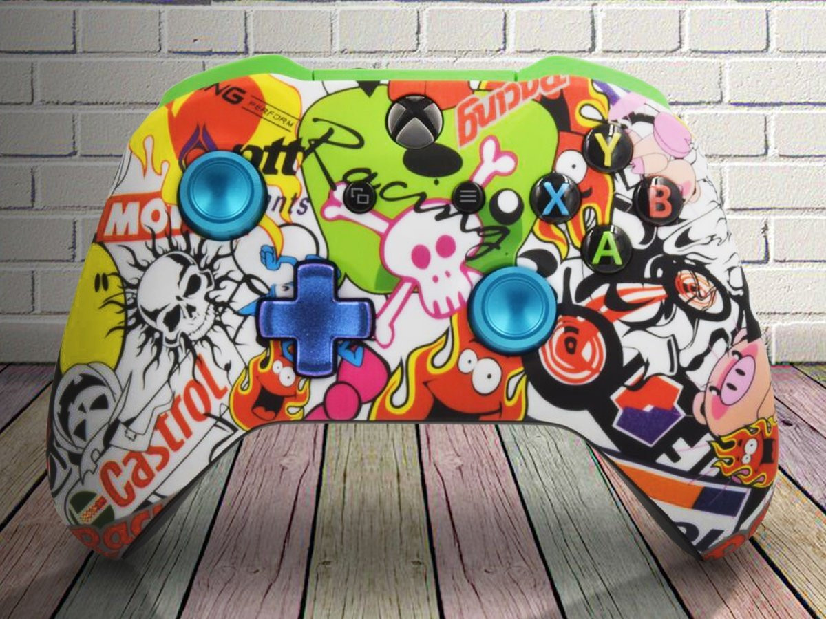 Sticker Bomb Xbox One S Controller With Custom Buttons