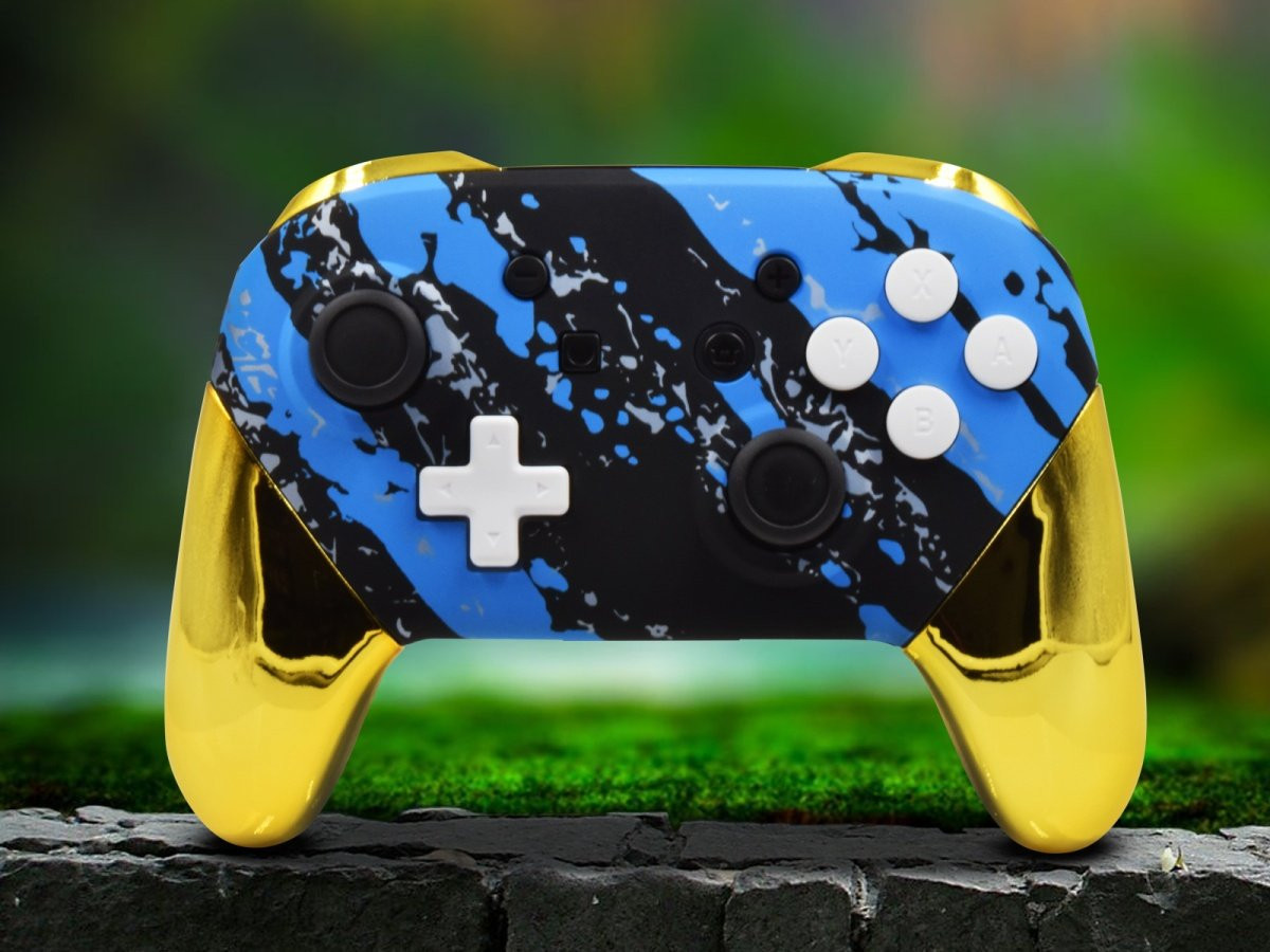 Switch Pro Custom Blue Splatter Controller With Chrome Gold Accents