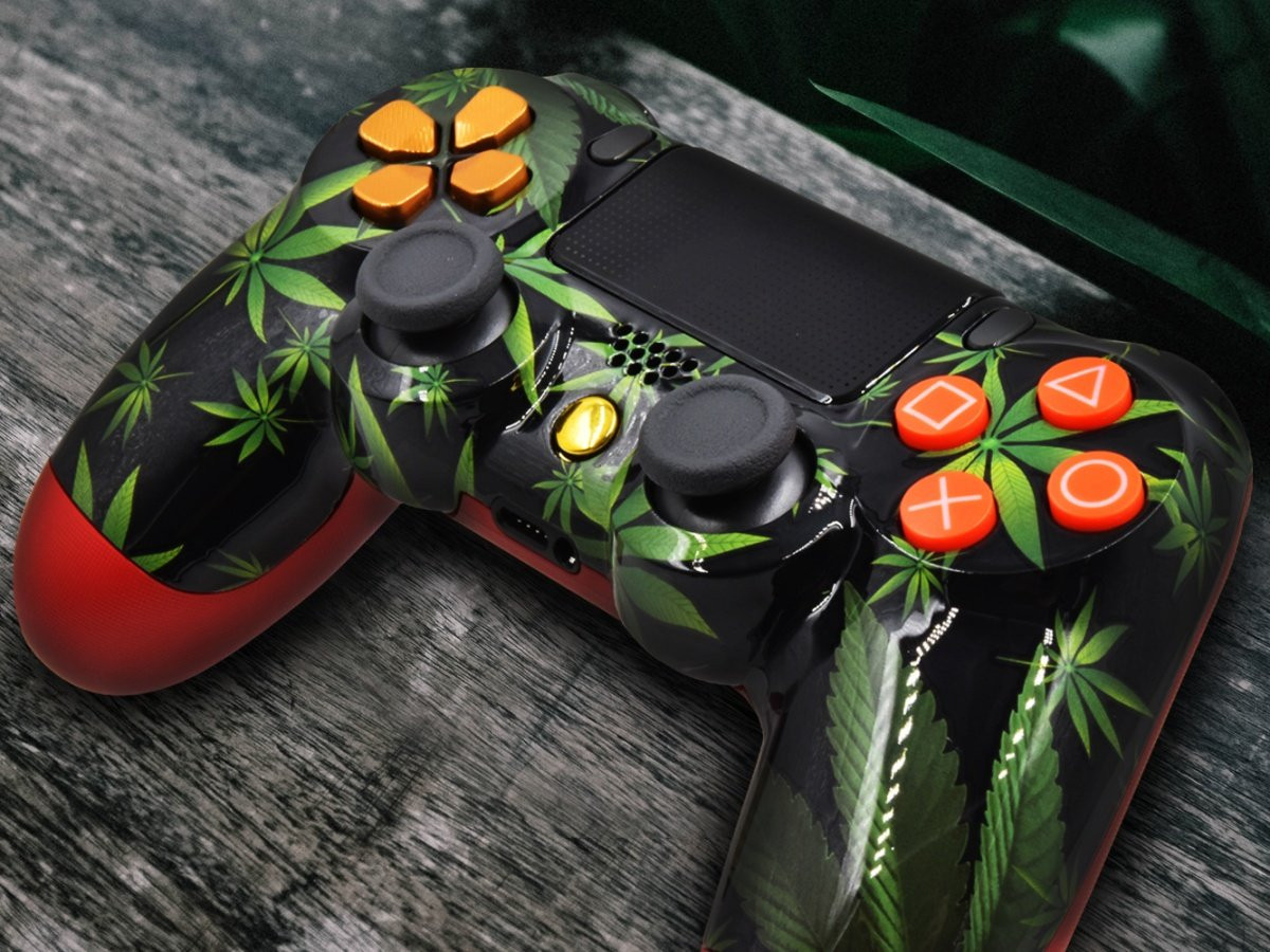 PS4 Custom Controller - Green Weed