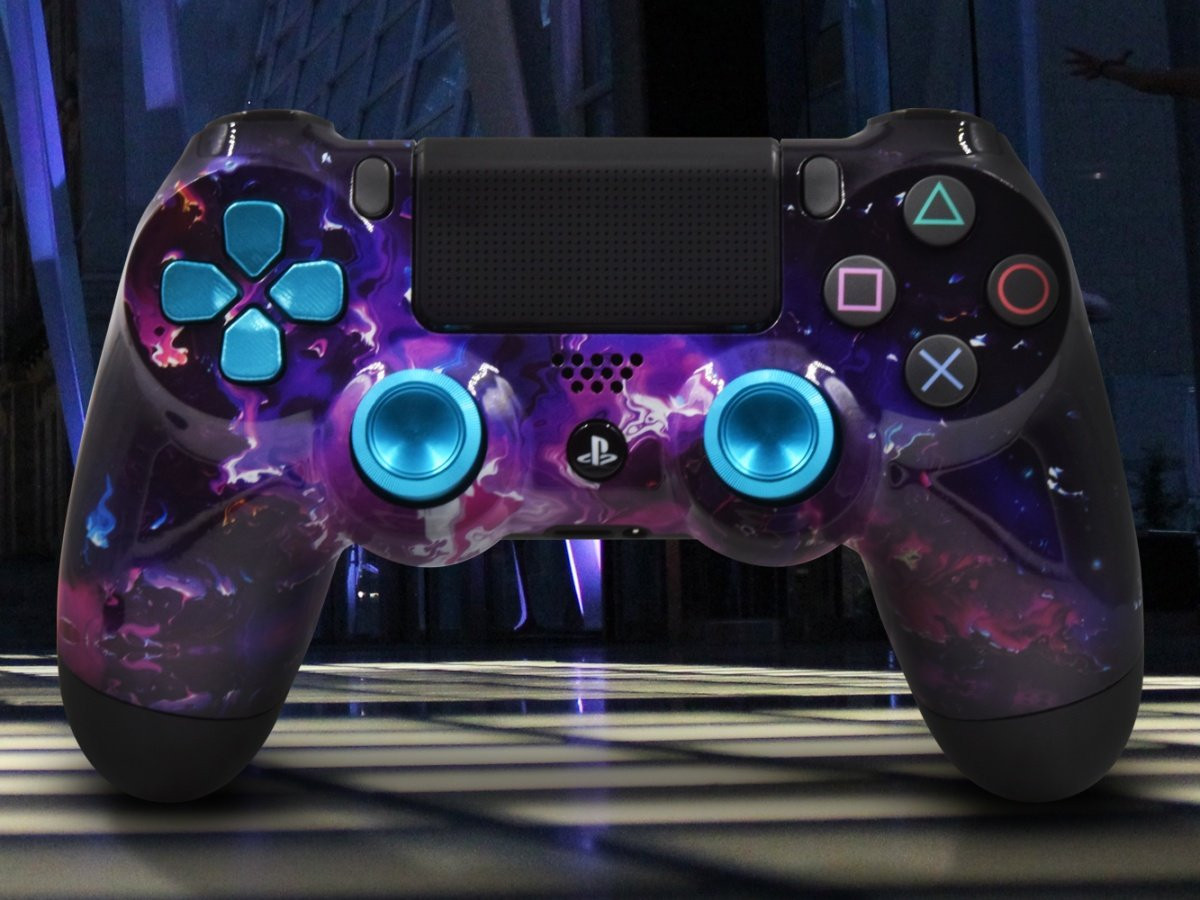 Custom PS4 Dark Matter Controller With Aluminum D-pad and Thumbsticks