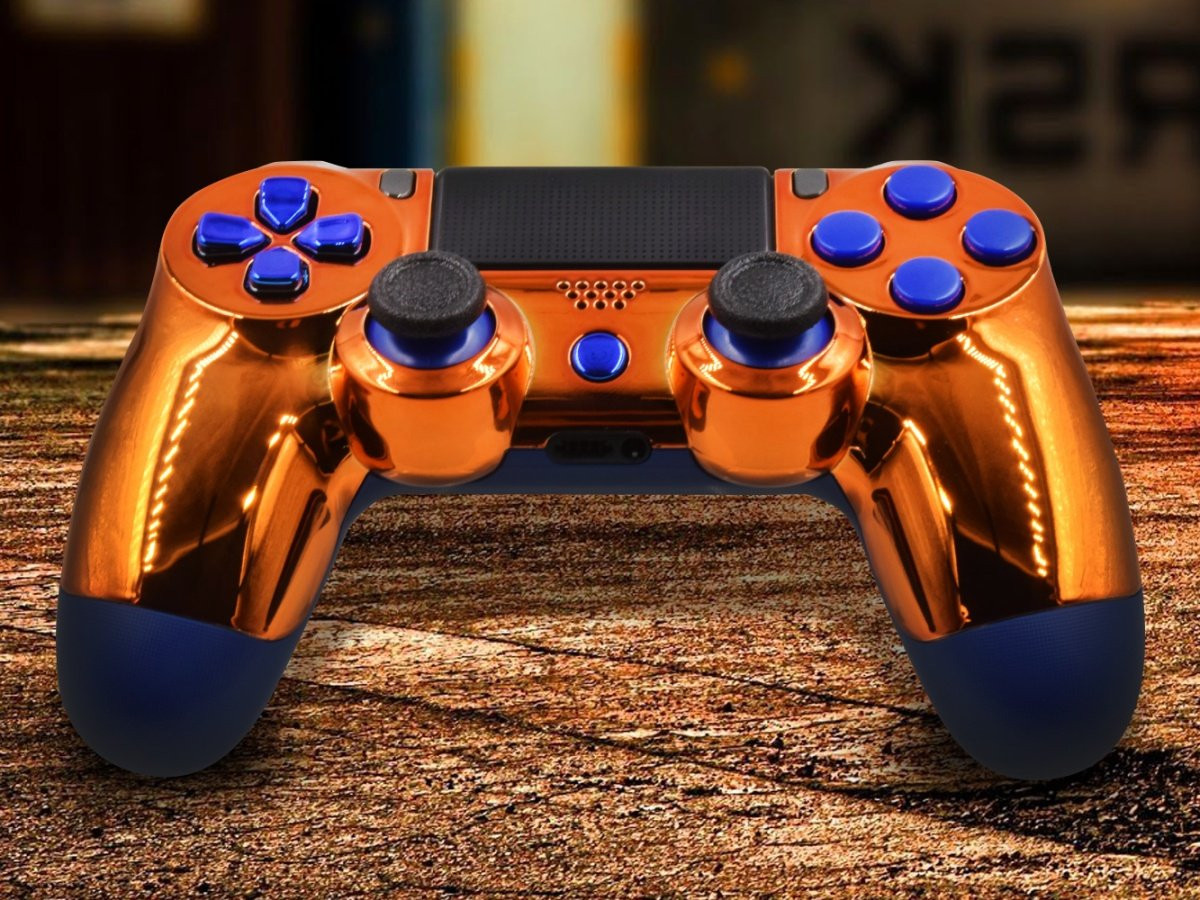 Chrome Orange Custom PS4 Pro Controller With Blue Accents