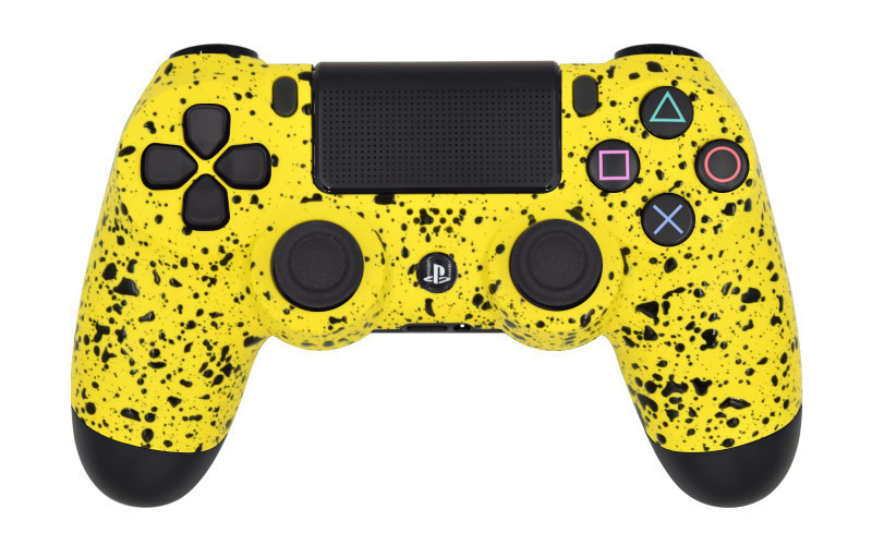 PS4 Pro Rubberized Yellow Custom Modded Controller