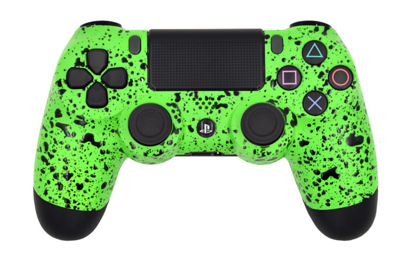 PS4 Pro Rubberized Lime Green Custom Modded Controller